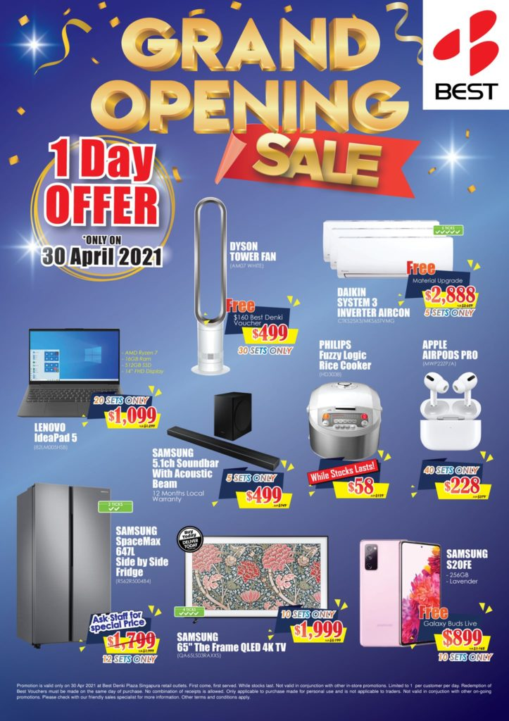 BEST Denki Singapore Plaza Singapura Grand Opening Sale Only On 30 Apr 2021 | Why Not Deals