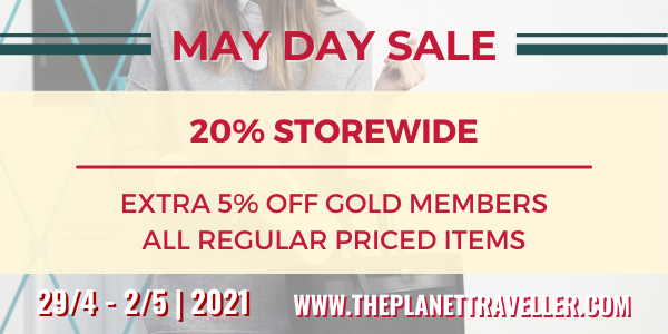 THE PLANET TRAVELLER MAY DAY SALE – 20% STOREWIDE + 50% LUGGAGE