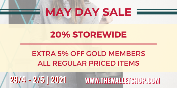 THE WALLET SHOP MAY DAY SALE – 20% OFF STOREWIDE