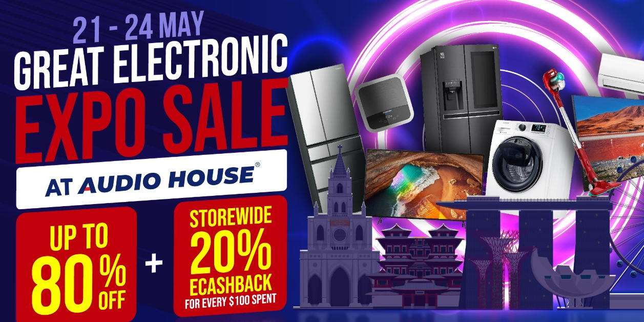 Join Audio House Great Electronics Expo Sale At Up to 80% OFF + Storewide 20% eCashback with Every $100 Spent