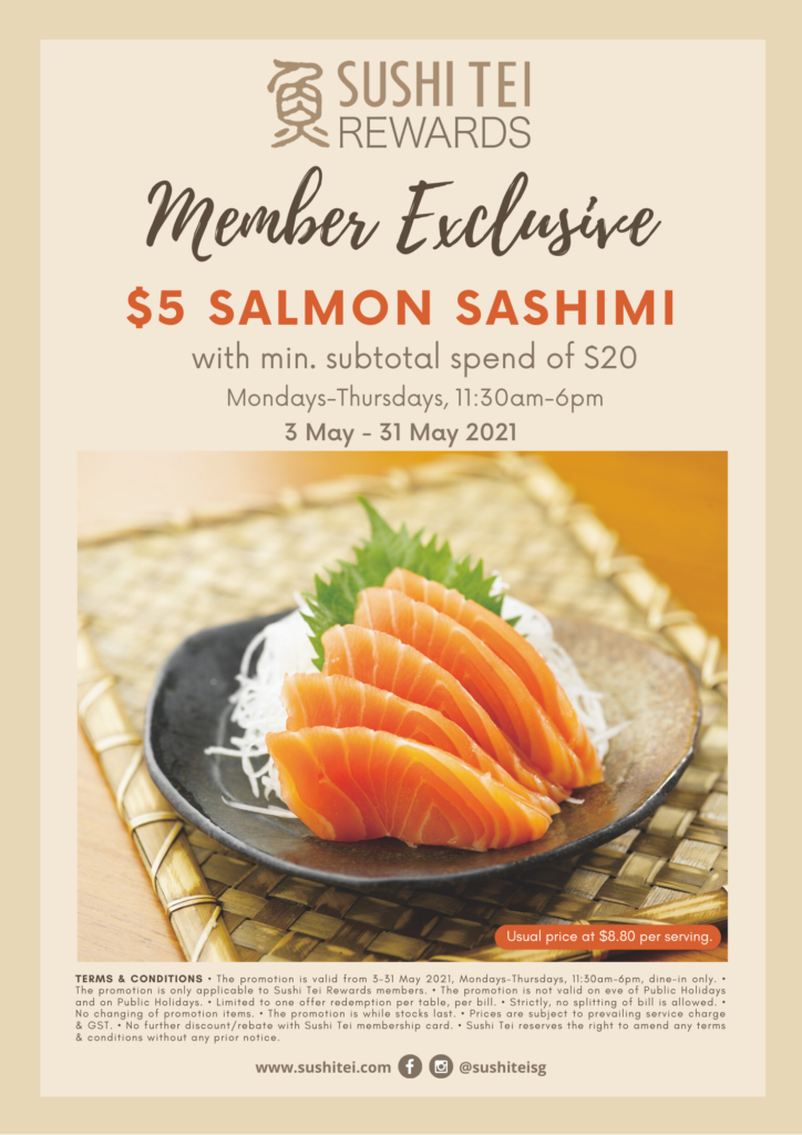 $5 Salmon Sashimi for Sushi Tei Members from now till 31 May 2021   Why Not Deals