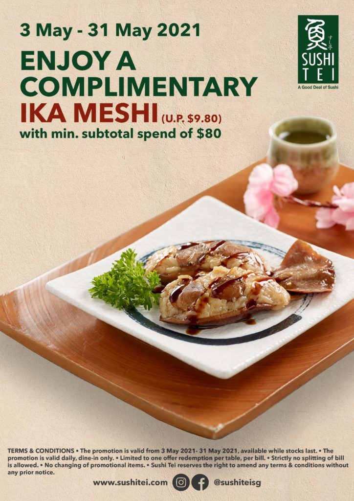 Free dish* when you dine at Sushi Tei from now till 31 May 2021 | Why Not Deals