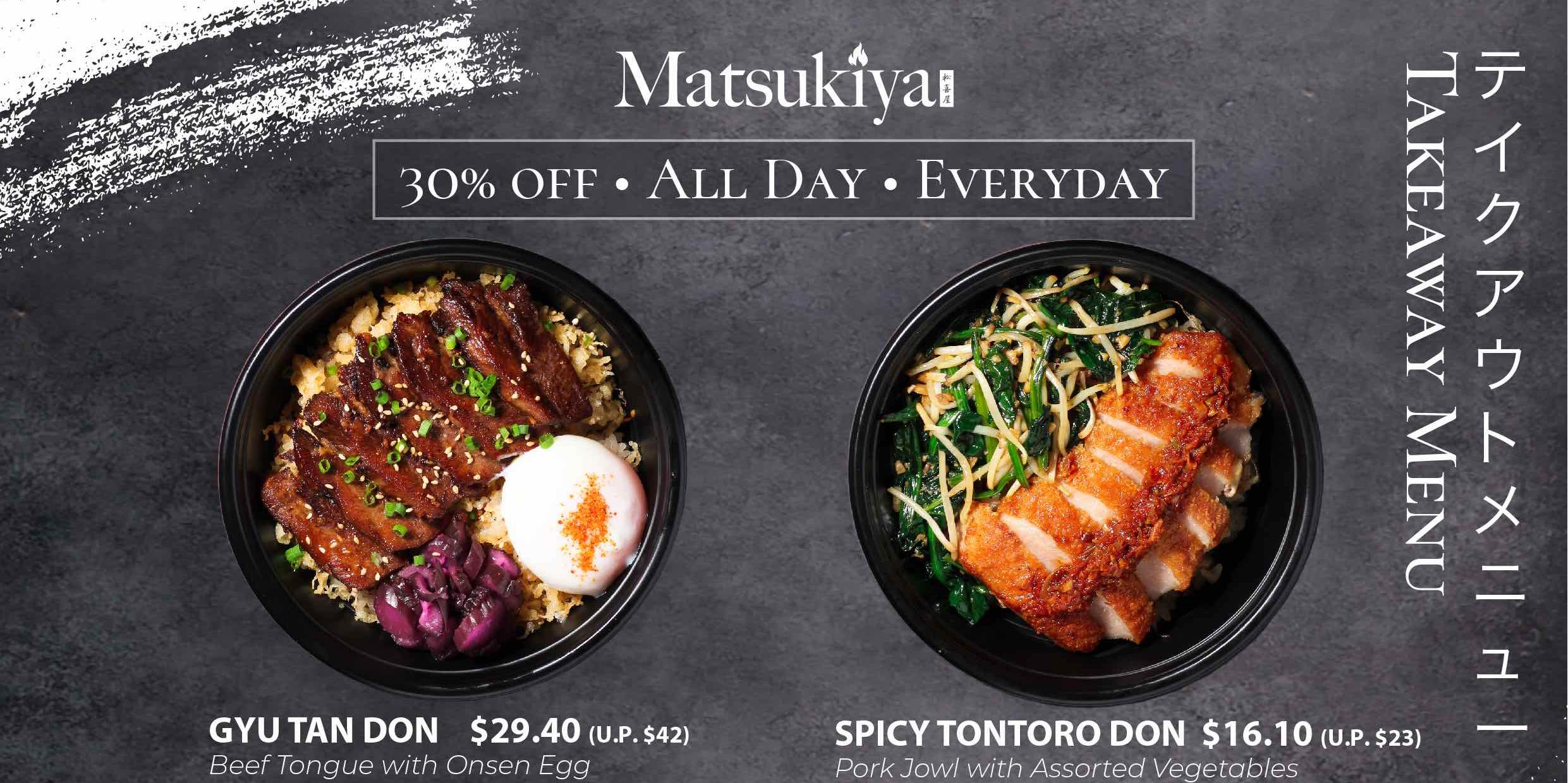 30% discount on Deliveroo and takeaways at Matsukiya