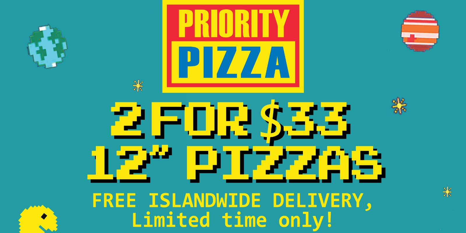 "Two 12"" Pizzas for only $33 at The Priority Club!"