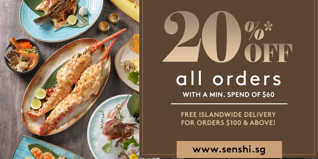 Enjoy a 20% online exclusive discount for all orders on SENSHI with a min spend of $60