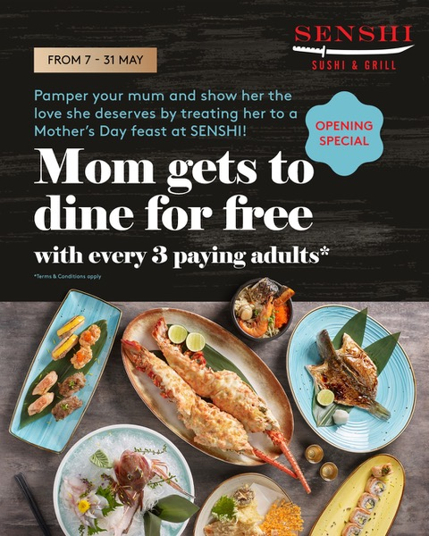 MUM DINES FREE with every 3 paying adults at SENSHI   Why Not Deals