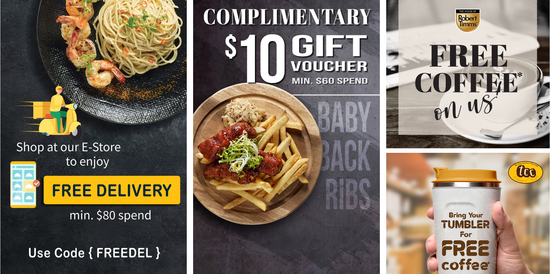 [Promotion] $10 Takeaway Voucher, FREE Coffee & FREE Delivery from tcc & The House Of Robert Timms