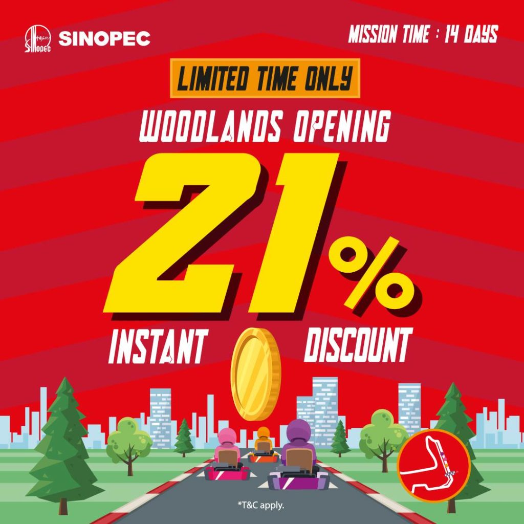 Sinopec Singapore Woodlands Opening Special 21% Off Promotion ends 3 Jun 2021   Why Not Deals