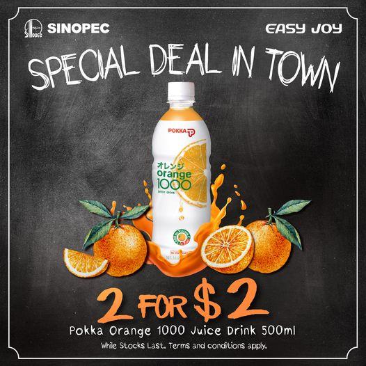 Sinopec Singapore Pokka Orange 1000 Juice Drink 2 For $2 Promotion   Why Not Deals