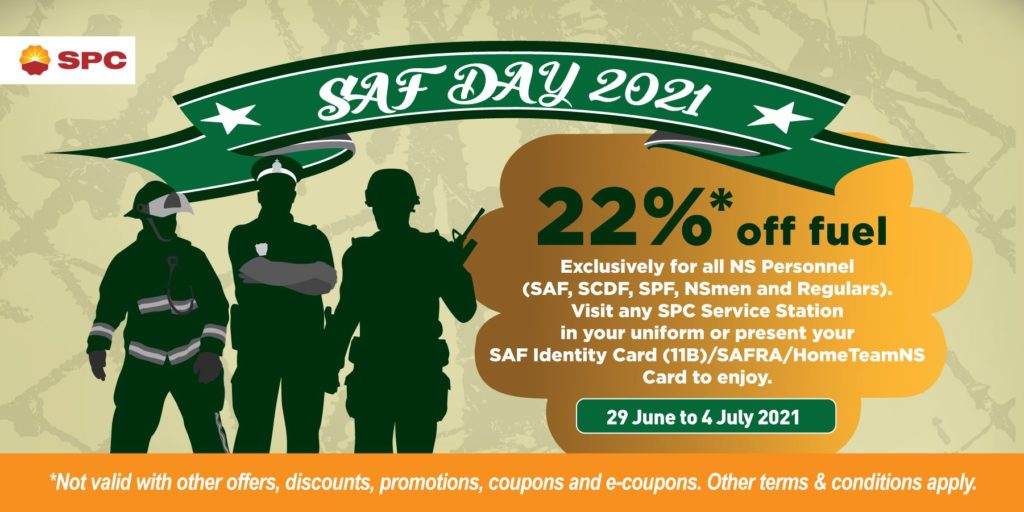 SPC Singapore SAF Day 2021 22% Off Fuel Promotion 29 Jun - 4 Jul 2021 | Why Not Deals