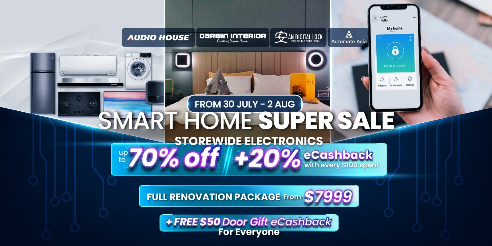 [Audio House Smart Home Super Sale] Up to 70% OFF Storewide + 20% eCashback with Every $100 Spent +