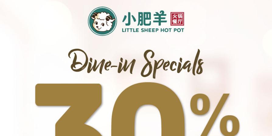 30% Off ENTIRE Ala Carte Menu at Little Sheep Hot Pot (Until 31 August 2021)