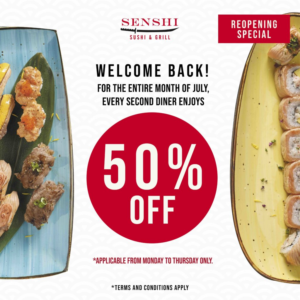 [Promotion] 50% off 2nd diner for the entire month of July at SENSHI Sushi & Grill | Why Not Deals