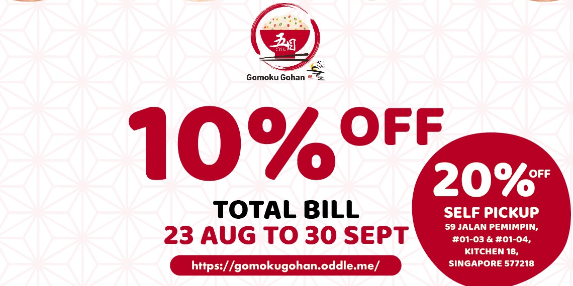 Up To 20% OFF Total Bill at Gomoku Gohan by SUN with MOON