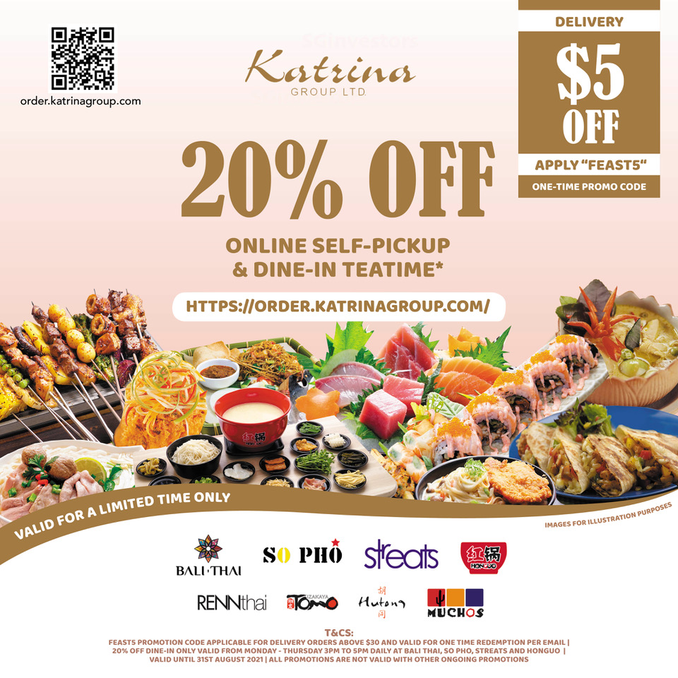 Order from these 8 restaurants and enjoy 20% OFF Self-pickup, dine-in and $5 OFF Deliver   Why Not Deals