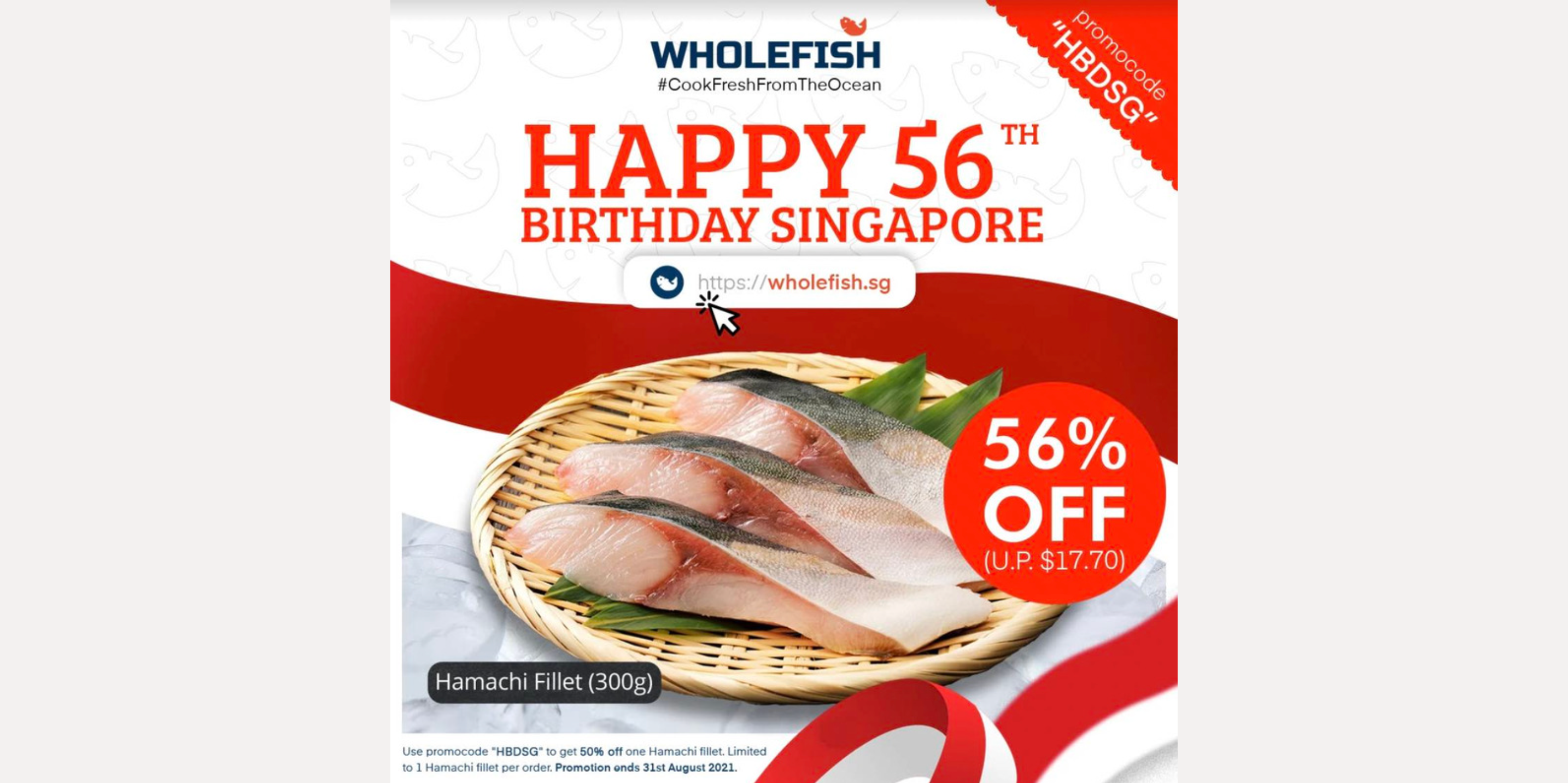 [August Special] 56% off Grade A Hamachi Fillet on Wholefish.sg!