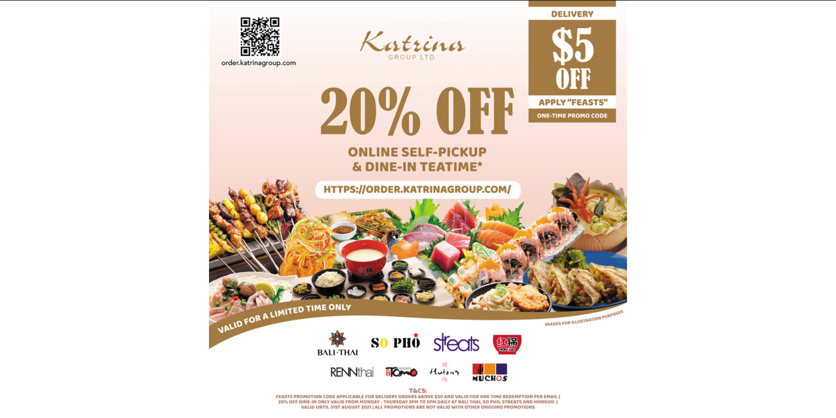 Order from these 8 restaurants and enjoy 20% OFF Self-pickup, dine-in and $5 OFF Deliver
