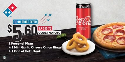 Domino's Singapore $5.60 Bundle @ 1 Personal Pizza + 1 Mini Rings + 1 Can Drink Promotion ends 31 Dec 2021