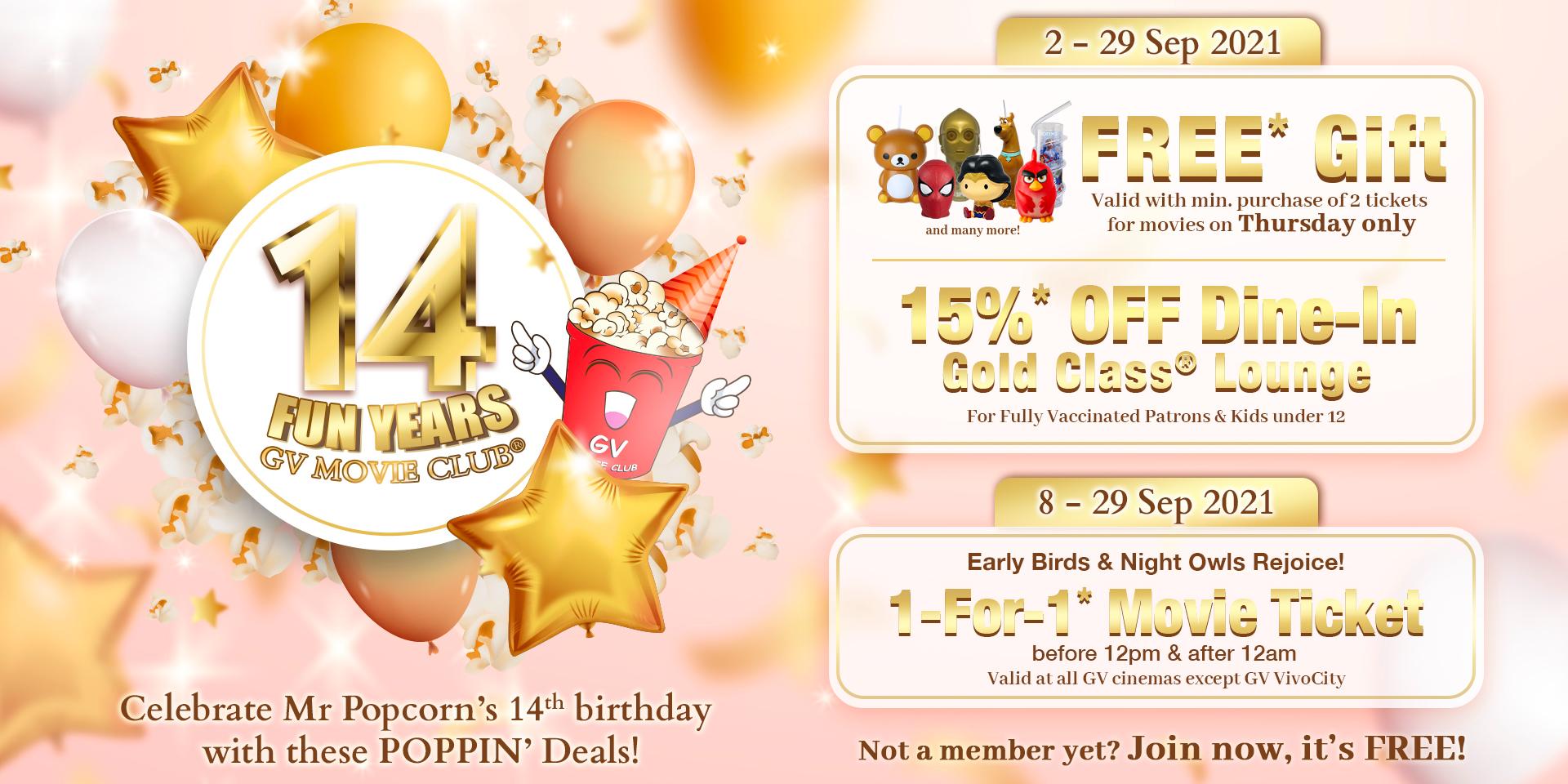 Celebrate 14 Years of Fun with GV Movie Club®