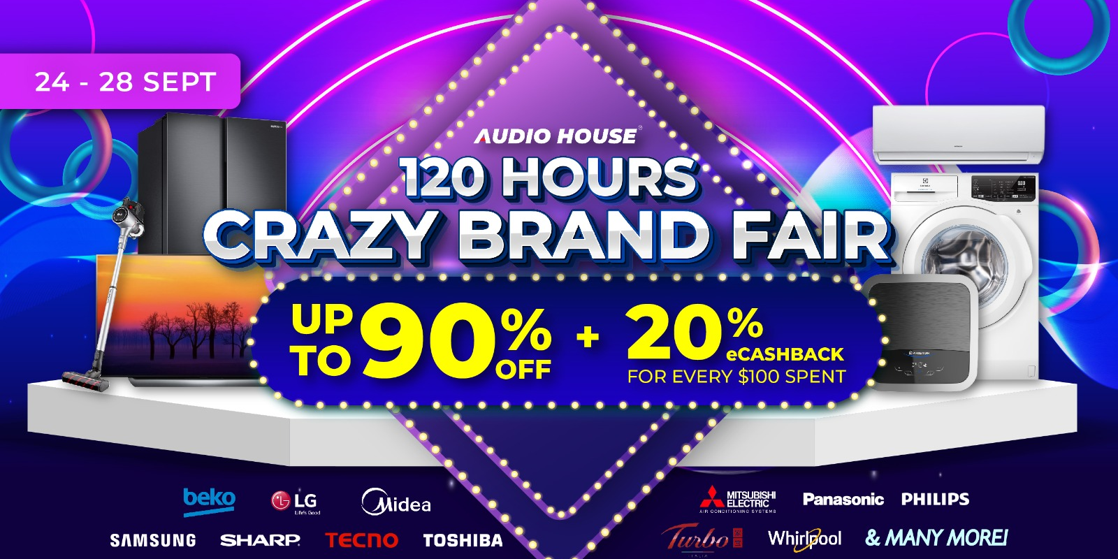 [Audio House 120 Hours Crazy Brand Fair] Up to 90% OFF + 20% eCashback For Every $100 Spent!