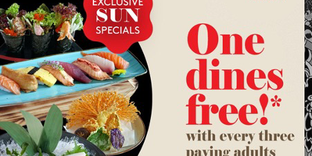 One dines free with every three paying adults – exclusive Sunday Special at SENSHI when you dine wit
