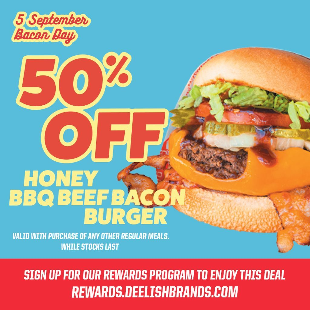 50% OFF Fatburger's Honey BBQ Bacon Burger on 5th September 2021 | Why Not Deals