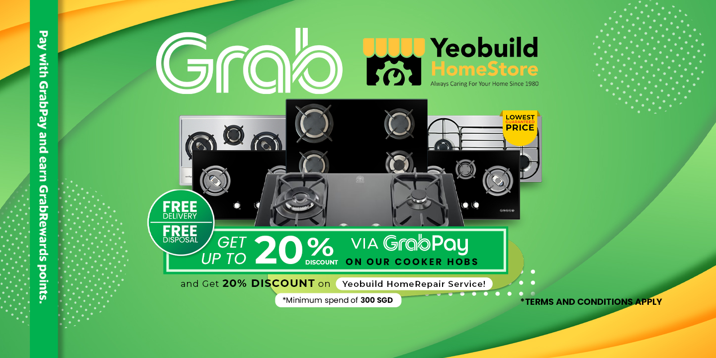 Get a 20% off on our Cooker Hobs when your purchase is at least worth 300 SGD via Grab Pay!