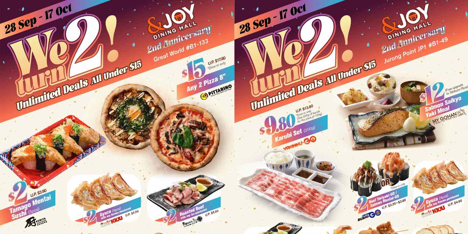 Japanese &JOY Dining Hall celebrates 2nd Anniversary with $2 Deals!