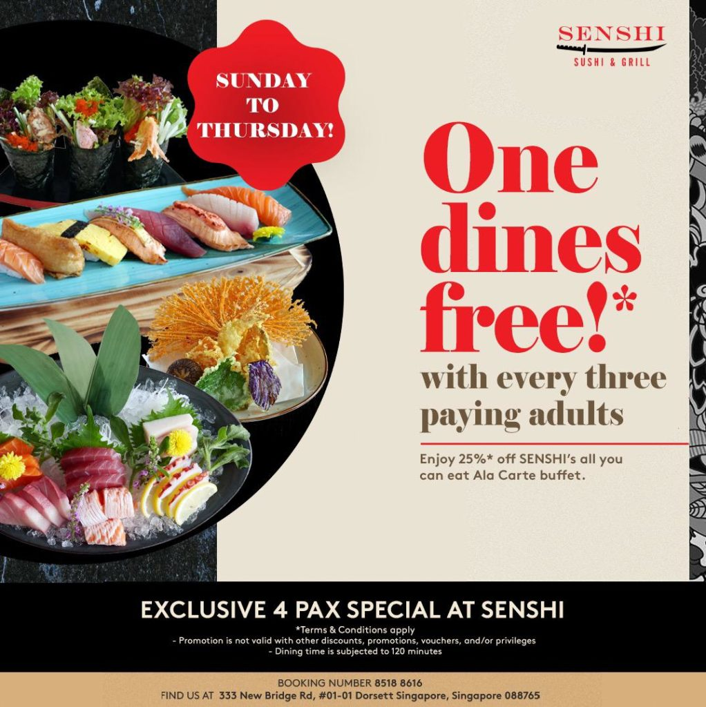 Extended promotion - one dines FREE at SENSHI every Sunday to Thursday! | Why Not Deals
