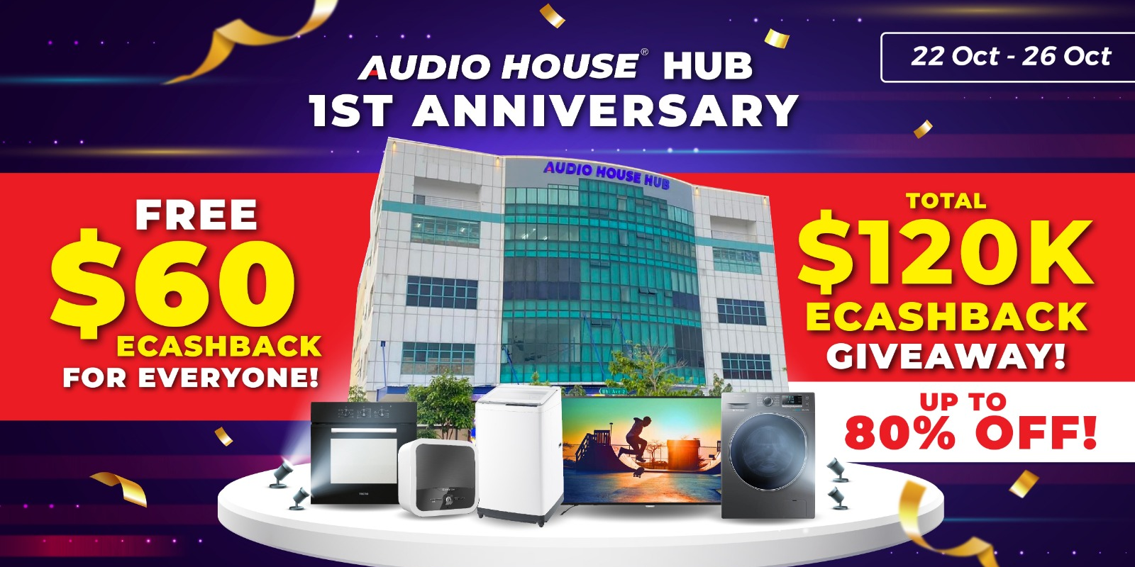 [Audio House Hub 1st Anniversary Sale] Up to 80% Off + Total $120,000 eCashback To Give Away This We