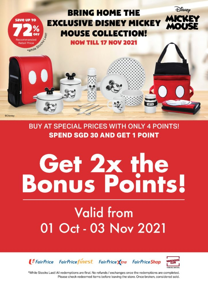 Double Bonus Points to Redeem Disney x FairPrice Exclusive Mickey Mouse Collection From $11.90 Only!   Why Not Deals