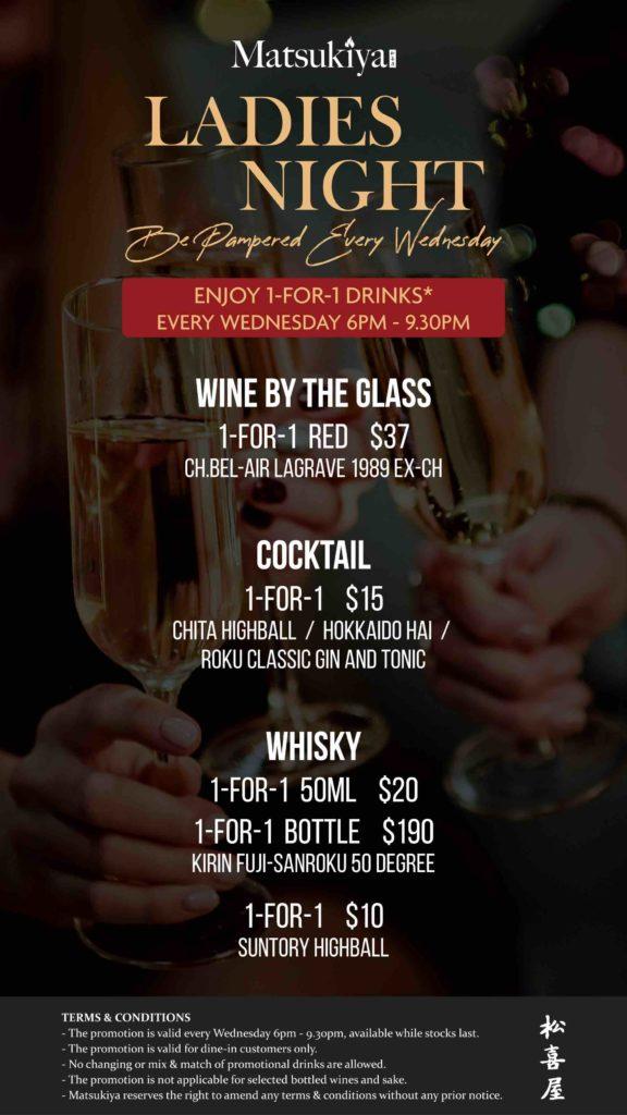 Ladies Night, Enjoy 1 for 1 drinks at Matsukiya | Why Not Deals