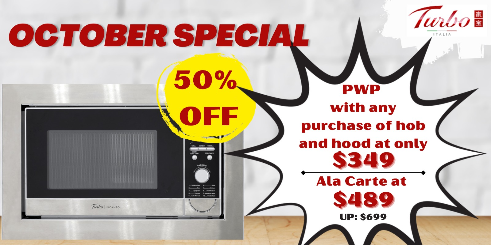 [Turbo Oct Special] 50% OFF Turbo Incanto Microwave Oven with Grill with Any Purchase of Hob & Hood!